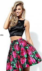 Sherri Hill Print Two Piece Homecoming Dress