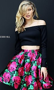 Print Two Piece Long Sleeve Homecoming Dress