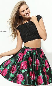 Cap Sleeve Two Piece Print Homecoming Dress