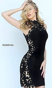Short Black High Neck Homecoming Dress