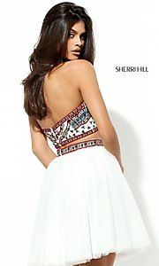 Image of two-piece short Sherri Hill homecoming dress.  Style: SH-50645 Back Image