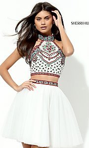 Image of two-piece short Sherri Hill homecoming dress.  Style: SH-50645 Detail Image 1
