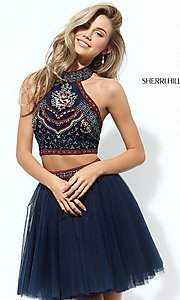 Image of two-piece short Sherri Hill homecoming dress.  Style: SH-50645 Front Image