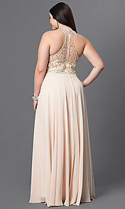 Image of plus-size red prom dress with lace racerback bodice. Style: DQ-9283Pr Back Image