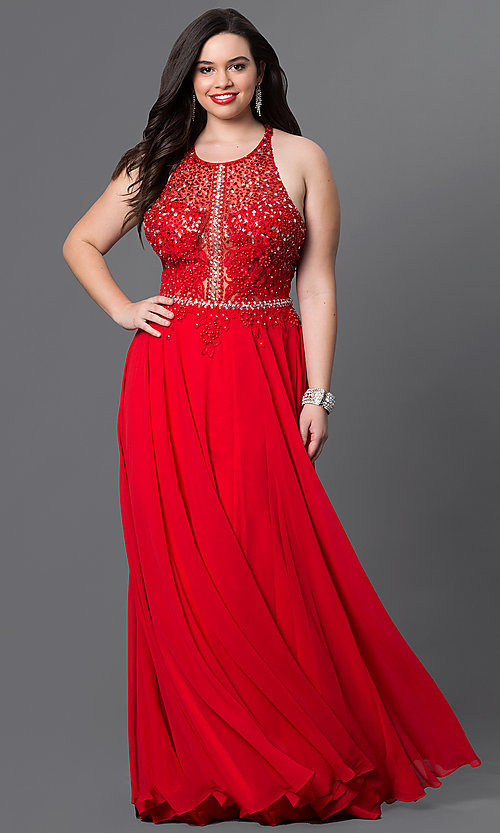Image of plus-size red prom dress with lace racerback bodice. Style: DQ-9283Pr Front Image