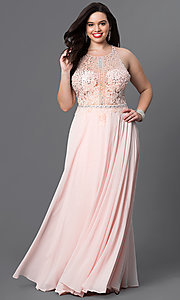 Sheer-Top Plus-Size Prom Dress in Blush Pink