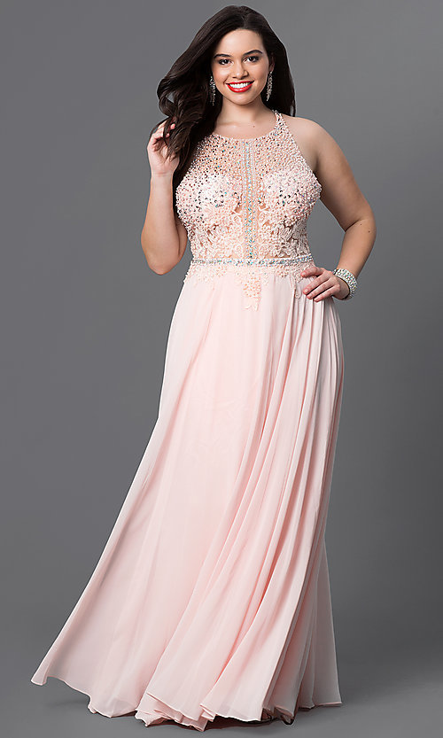 Image of sheer-top plus-size prom dress in blush pink. Style: DQ-9283Pb Front Image