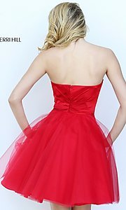 Image of short strapless homecoming dress by Sherri Hill. Style: SH-50657 Back Image