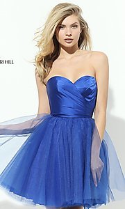 Image of short strapless homecoming dress by Sherri Hill. Style: SH-50657 Detail Image 2