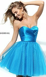 Image of short strapless homecoming dress by Sherri Hill. Style: SH-50657 Detail Image 3