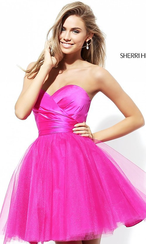 Image of short strapless homecoming dress by Sherri Hill. Style: SH-50657 Detail Image 1