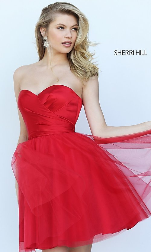 Image of short strapless homecoming dress by Sherri Hill. Style: SH-50657 Front Image