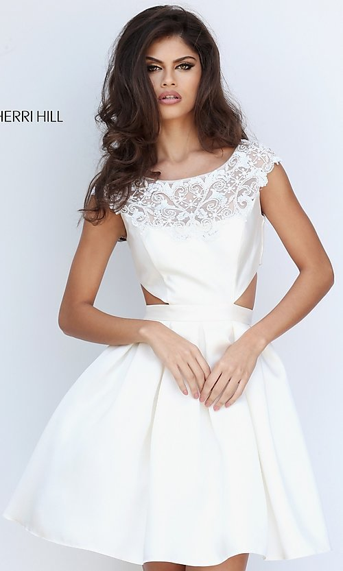 Image of mock two-piece Sherri Hill homecoming dress. Style: SH-50682 Front Image