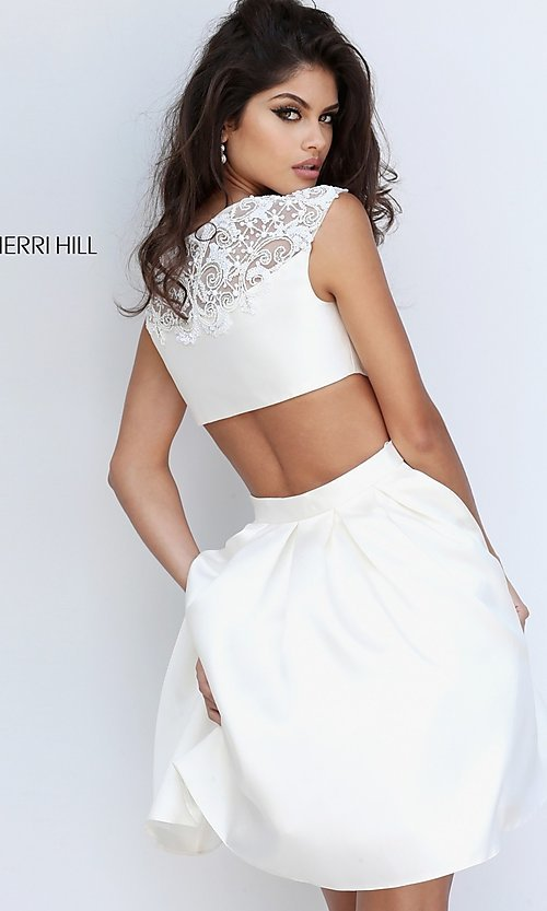 Image of mock two-piece Sherri Hill homecoming dress. Style: SH-50682 Back Image