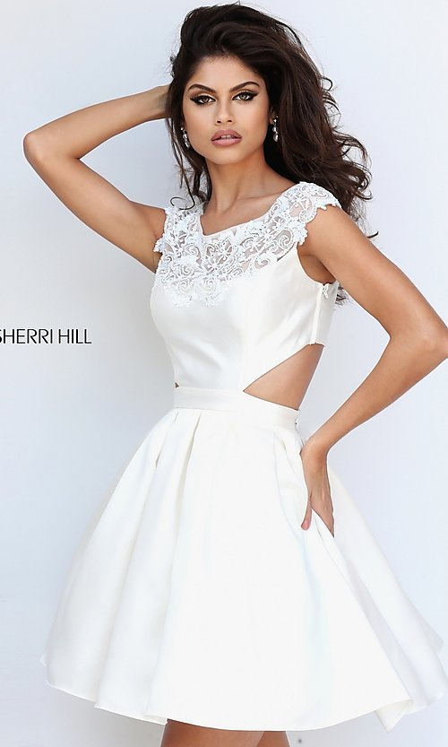 Image of mock two-piece Sherri Hill homecoming dress. Style: SH-50682 Detail Image 1