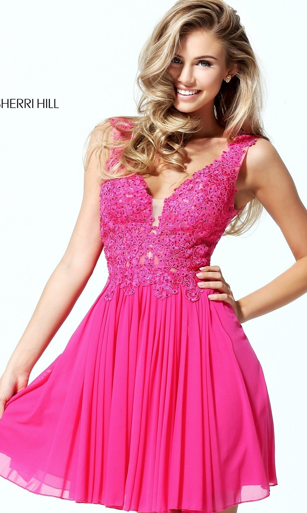 Sherri Hill V-Neck Homecoming Dress - PromGirl