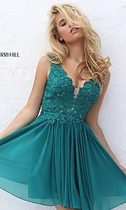 Image of short v-neck homecoming dress by Sherri Hill. Style: SH-50756 Detail Image 4