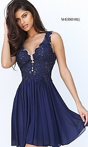 Short V-Neck Homecoming Dress by Sherri Hill