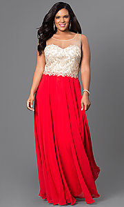 Image of red plus-size long prom dress with jewels. Style: DQ-9247Pr Front Image