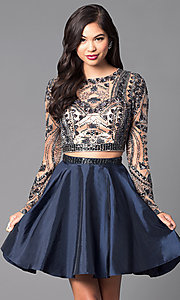 Image of two-piece short open-back homecoming dress. Style: SH-50693 Front Image
