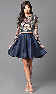 Image of two-piece short open-back homecoming dress. Style: SH-50693 Detail Image 1