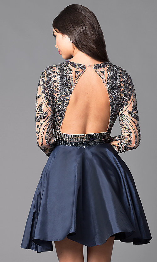 Image of two-piece short open-back homecoming dress. Style: SH-50693 Back Image