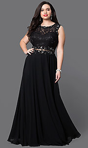 Image of long mock two-piece plus prom dress in black. Style: DQ-9322Pr Front Image