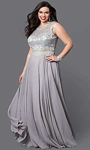 Image of long mock two-piece plus prom dress in black. Style: DQ-9322Pr Detail Image 1