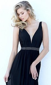 Image of long sleeveless v-neck Sherri Hill formal dress.  Style: SH-50760 Detail Image 3