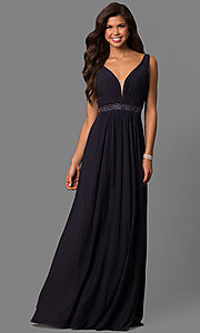 Image of long sleeveless v-neck formal dress.  Style: SH-50760 Front Image