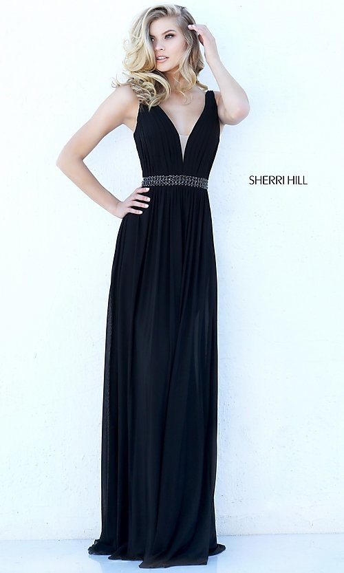 Image of long sleeveless v-neck Sherri Hill formal dress.  Style: SH-50760 Detail Image 2