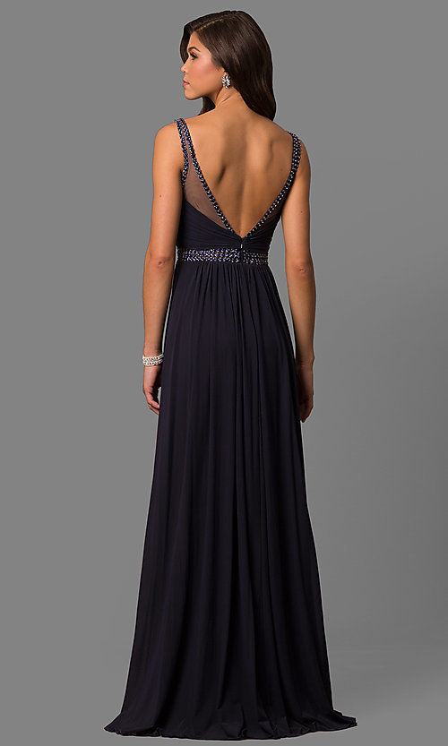 Image of long sleeveless v-neck formal dress.  Style: SH-50760 Back Image