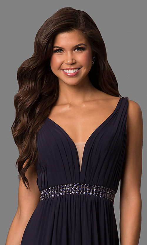 Image of long sleeveless v-neck Sherri Hill formal dress.  Style: SH-50760 Detail Image 1