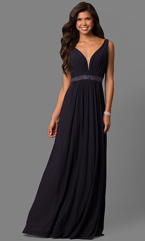 Image of long sleeveless v-neck Sherri Hill formal dress.  Style: SH-50760 Front Image