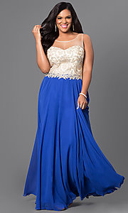 Image of sheer-back plus-size long prom dress with jewels. Style: DQ-9247Py Front Image