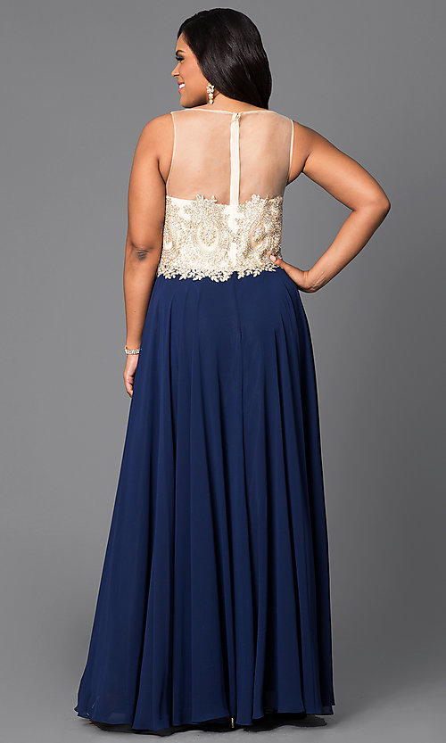 Image of sheer-back plus-size long prom dress with jewels. Style: DQ-9247Py Back Image