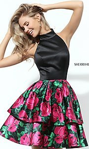 Print Short Sherri Hill Homecoming Dress