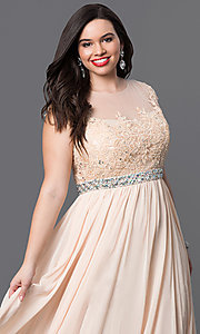 Image of taupe long plus prom dress with illusion neckline. Style: DQ-9400Pt Detail Image 5