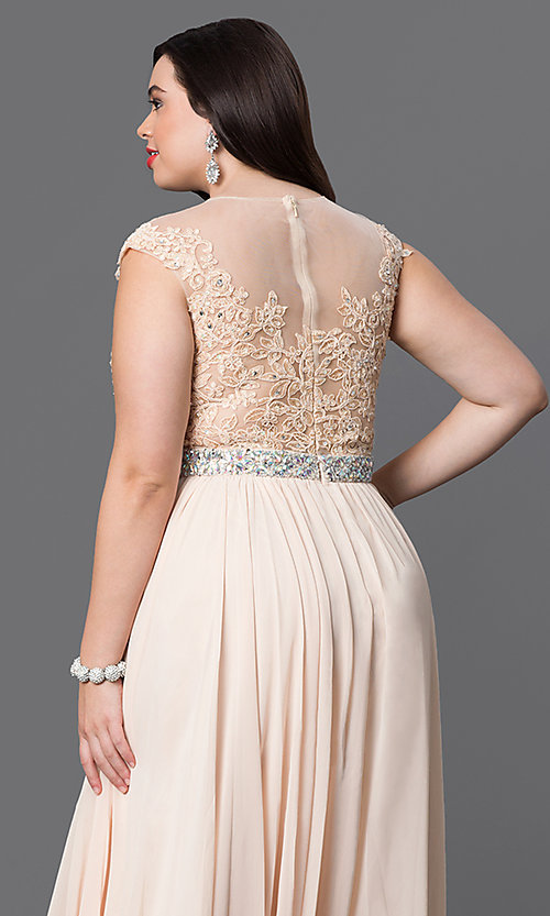 Image of taupe long plus prom dress with illusion neckline. Style: DQ-9400Pt Detail Image 6