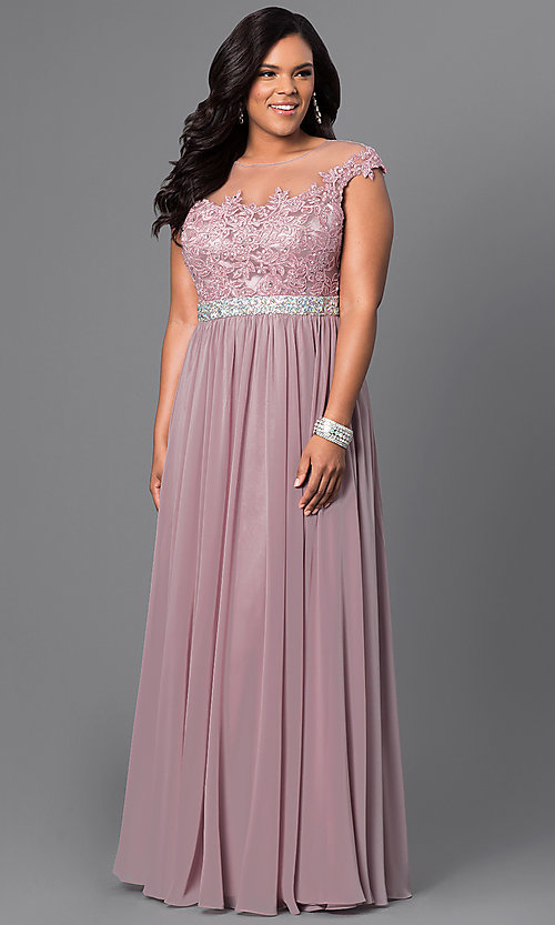 Image of taupe long plus prom dress with illusion neckline. Style: DQ-9400Pt Front Image
