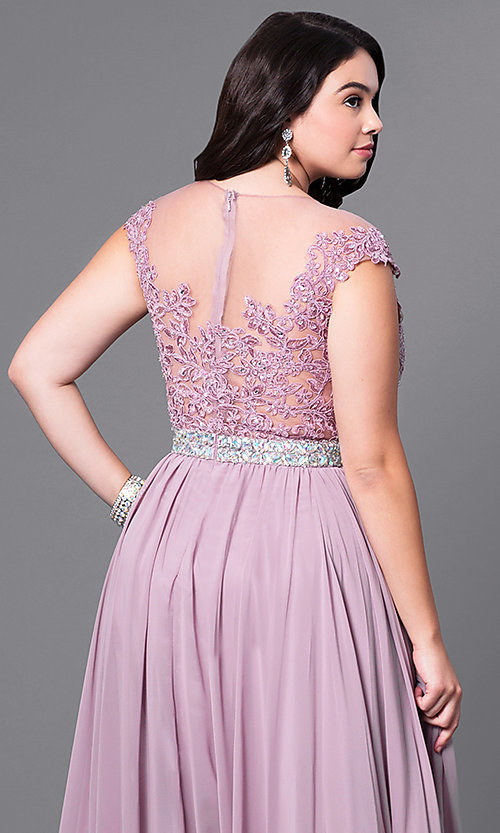 Image of taupe long plus prom dress with illusion neckline. Style: DQ-9400Pt Detail Image 2