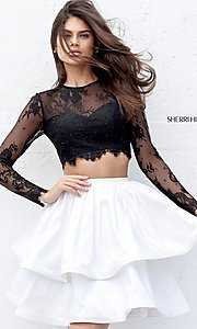 Long Sleeve Two Piece Homecoming Dress