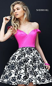 Off the Shoulder Print Homecoming Dress
