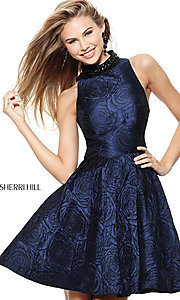 Short High-Neck Sherri Hill Homecoming Dress