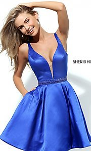 V-Neck Short Beaded Waist Homecoming Dress
