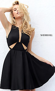 Illusion Cut-Out Short Sherri Hill Homecoming Dress