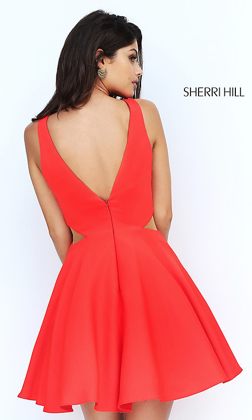 Image of illusion cut-out short Sherri Hill homecoming dress. Style: SH-S50660 Back Image
