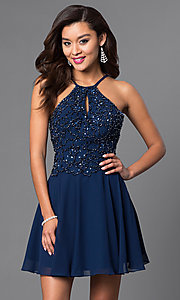 Beaded Short Open-Back Chiffon Homecoming Dress