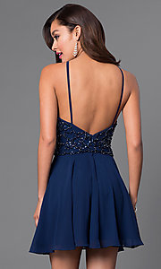 Image of beaded short open-back chiffon homecoming dress. Style: JO-JVN-JVN41683 Back Image