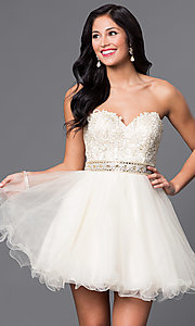 Strapless Sweetheart Lace Applique Tulle Dress
